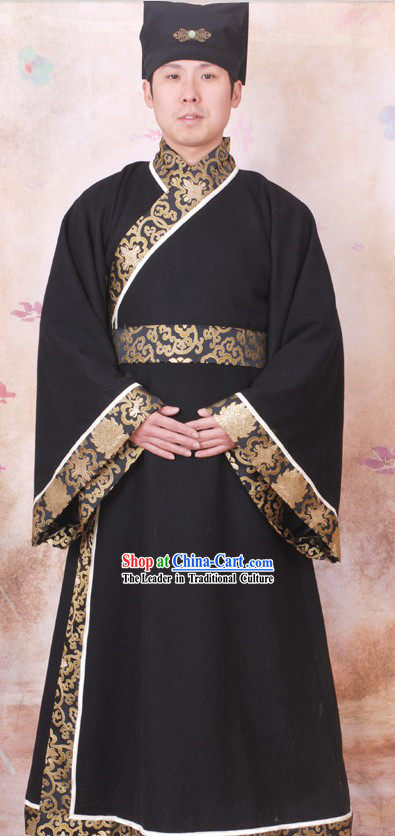 Ancient Chinese Black Clothing and Hat for Men