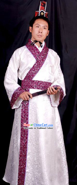 Ancient Chinese Han Dynasty Clothing and Hat for Men