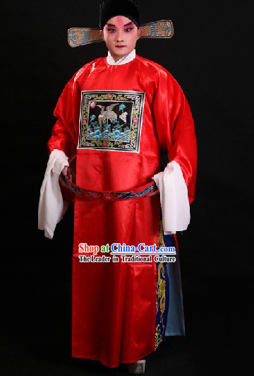 Traditional Chinese Opera Red Official Costume and Hat