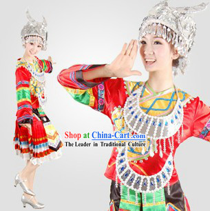 Traditional Chinese Miao Minority Dance Costumes and Hat for Women