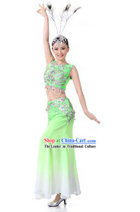 Traditional Chinese Peacock Dancing Costume and Headpiece for Women