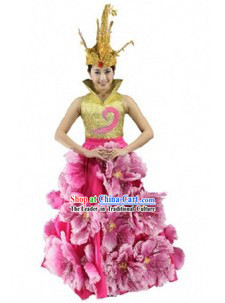 Traditional Chinese Modern Dance Costume and Headdress for Women