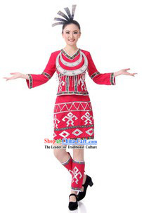Traditional Gaoshan Tribe Clothing and Headpiece for Women