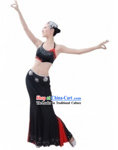 Traditional Chinese Dai Tribe Dance Costumes and Headpiece for Women
