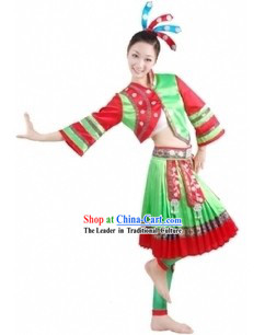 Traditional Chinese Miao Tribe Clothing and Headpiece for Women