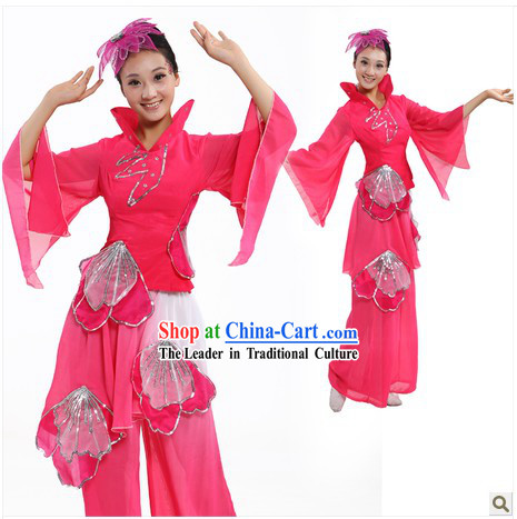 Traditional Chinese Lotus Dance Costumes and Headpiece for Women