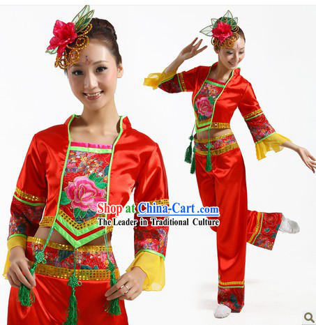 Traditional Chinese Fan Dance Costume and Headpiece for Women