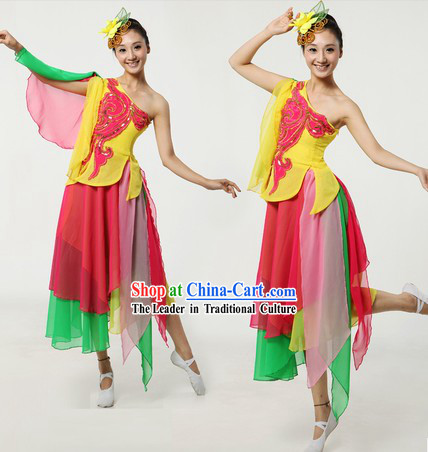 Chinese Classical Dance Dresses and Headpiece for Women