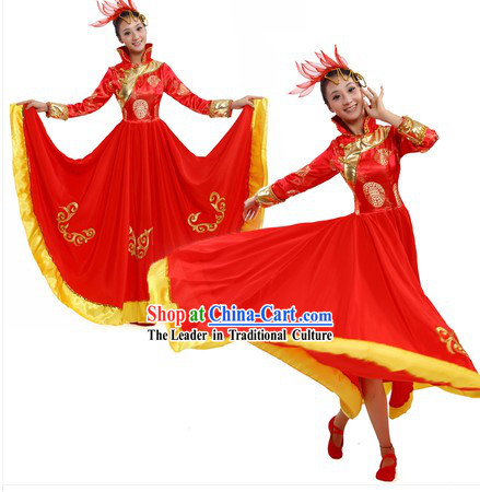 Chinese Mongolian Dresses and Headpiece for Women