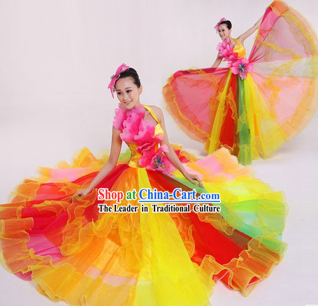 Chinese Modern Rainbow Costumes and Headpiece for Women