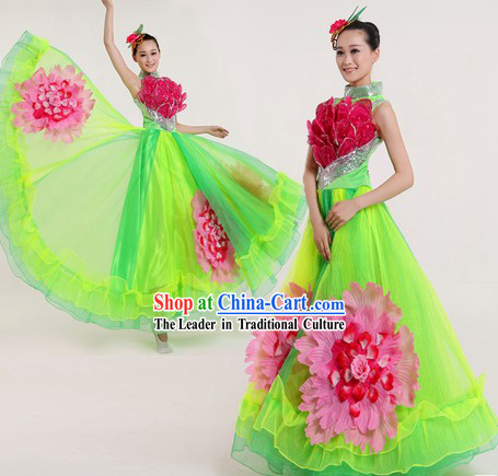Traditional Chinese Lotus Flower Costumes and Headpiece for Women