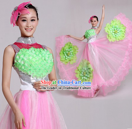 Traditional Chinese Comptemperary Dance Costumes and Headpiece for Women