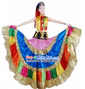 Traditional Chinese Yi Tribe Dancing Performance Costumes and Hat for Women