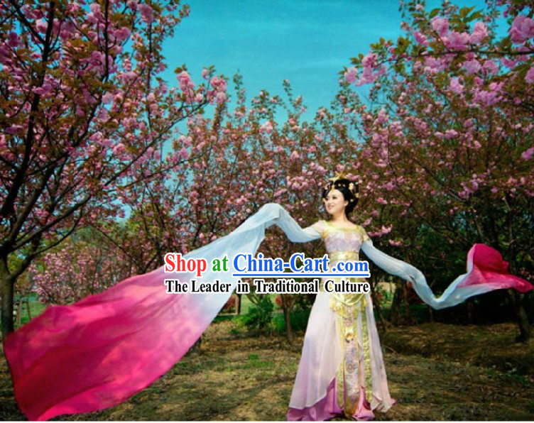 Ancient Chinese Pink Palace Dancer Costumes and Headpiece for Women