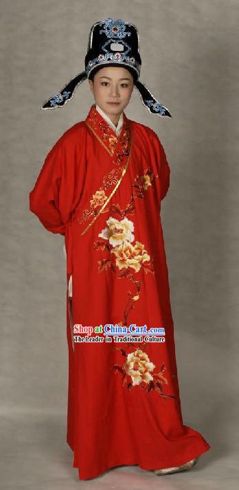 Ancient Chinese Opera Red Wedding Robe and Hat for Bridegrooms