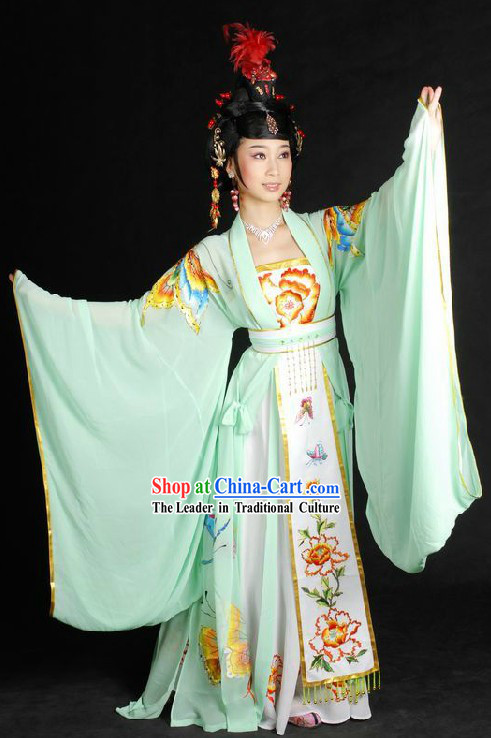 Ancient Chinese Embroidered Butterfly Love Performance Costumes and Wig for Women