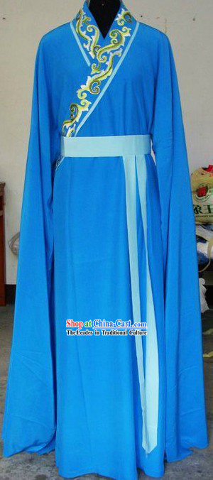 Ancient Chinese Blue Long Sleeve Dance Costumes for Men