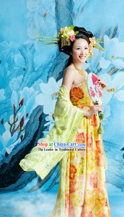 Ancient Chinese Tang Dynasty Costumes and Headdress Complete Set for Women