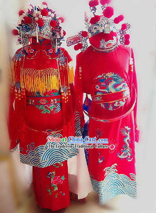 Traditional Chinese Wedding Dresses and Hats Complete Set for Brides and Bridegrooms