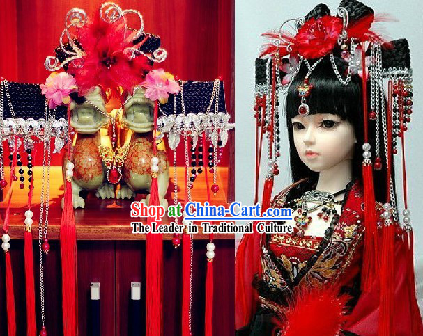 Ancient Chinese Red Bridal Partial Wig and Hair Accessories Complete Set