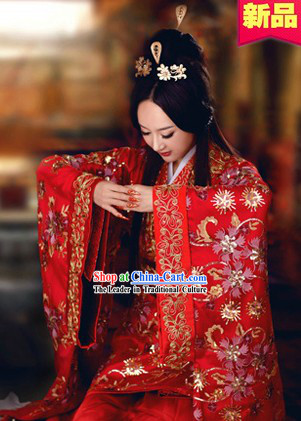 Ancient Chinese Red Wedding Dress Complete Set for Brides