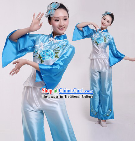 Traditional Chinese Fan Dance Costumes and Headpiece for Women