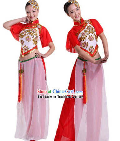 Traditional Chinese Group Dance Stage Performance Costumes and Headpieces