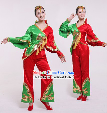 Traditional Chinese Stage Performance Fan Dancing Costumes and Headpieces for Women