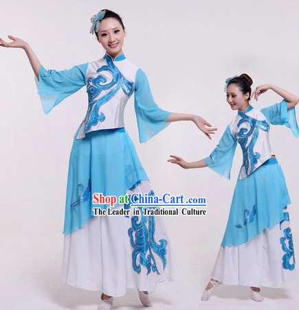 Chinese Classical Blue Dance Costumes and Headpieces