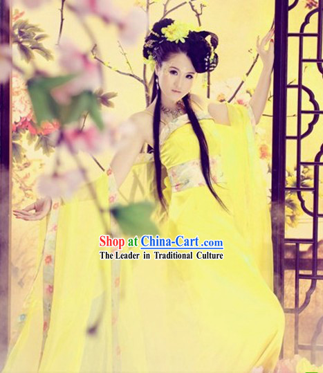 Yellow Ancient Chinese Dance Costumes