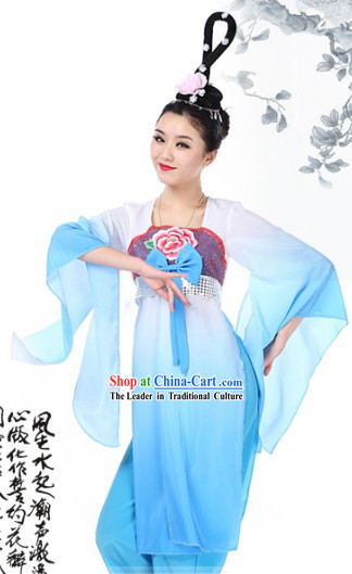 Blue Chinese Classical Dancing Costumes and Wig