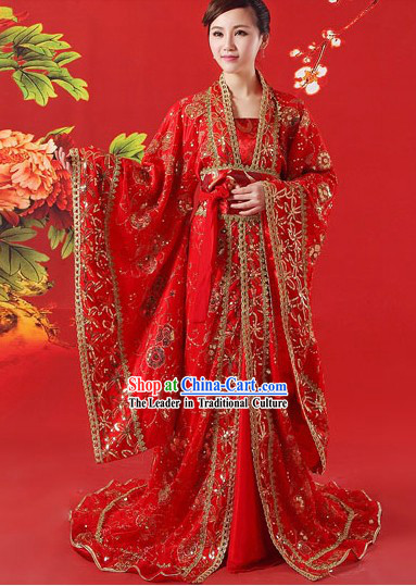 Traditional Ancient Chinese Red Wedding Dress for Brides