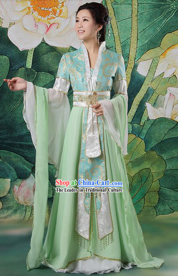 Chinese Classical Light Green SD Costumes Complete Set for Women