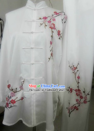 Traditional Chinese White Plum Blossom Silk Tai Chi Uniforms