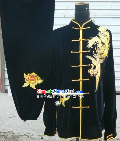 Traditional Chinese Velvet Phoenix Embroidery Tai Chi Competition Clothing