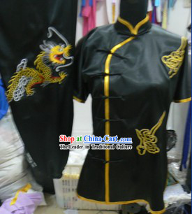 Traditional Chinese Black Silk Tai Chi Uniforms for Women