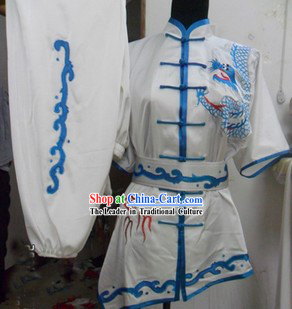 Traditional Chinese White Silk Kung Fu Costumes Complete Set