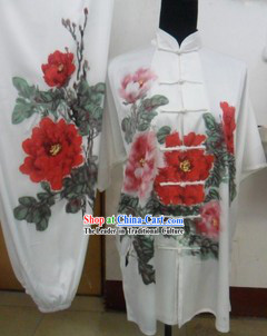 Traditional Chinese White Peony Silk Martial Arts Clothing
