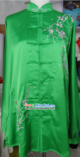 Traditional Chinese Green Tai Ji Kung Fu Performance Costumes