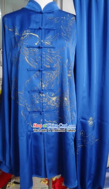 Chinese Classical Blue Dragon Gong Fu Wu Shu Clothes