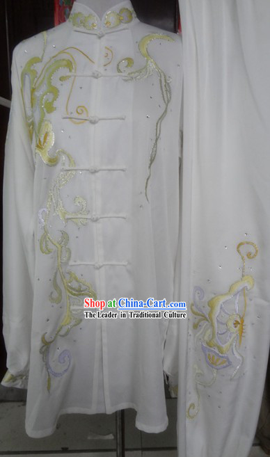 Chinese Classic White Embroidered Flower Kung Fu Martial Arts Master Uniform