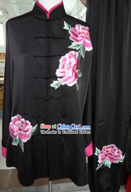 Traditional Chinese Black Peony Kung Fu Martial Arts Clothes