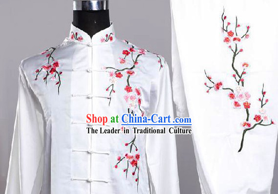 Traditional Chinese White Plum Blossom Embroidery Martial Arts Uniforms