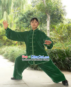 Traditional China Green Velvet Kung Fu Uniforms