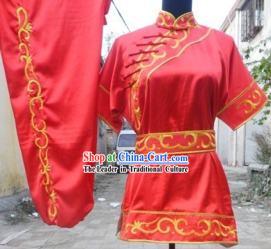 Traditional China Red Short Sleeveless Kung Fu Suits