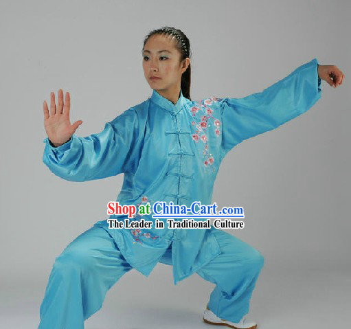 Traditional Chinese Blue Taiji Martial Arts Clothing for Women