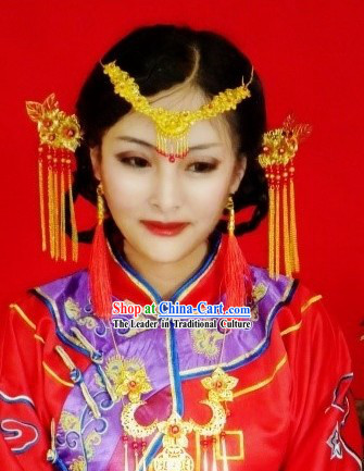 Chinese Classical Wedding Bridal Forehead Accessories and Hairpins