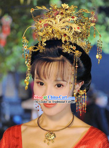 Traditional Chinese Tang Dynasty Empress Hairpins and Accessories Complete Set