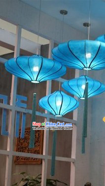 Traditional Chinese Blue Handmade Hanging Palace Lantern