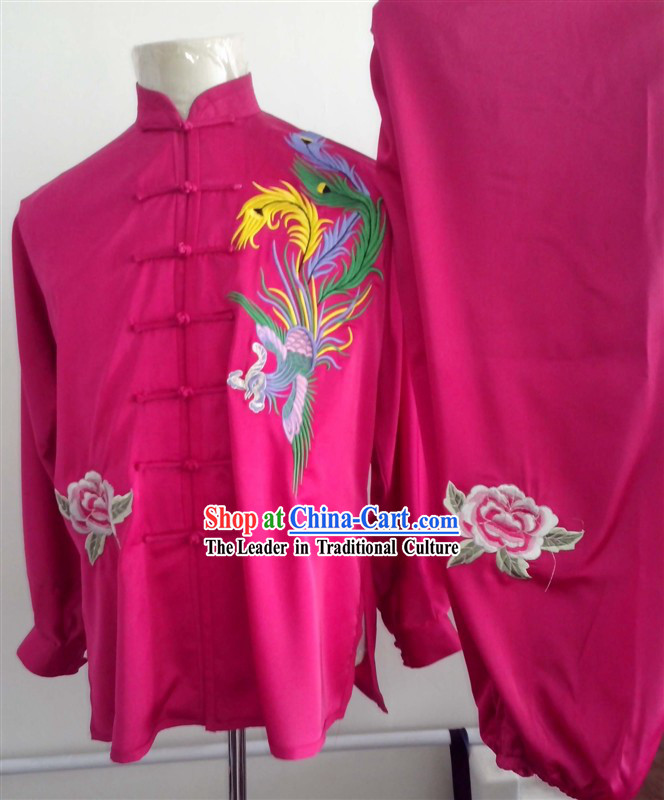 Traditional Chinese Phoenix Embroidery Tai Chi and Martial Arts Competition Outfit for Women